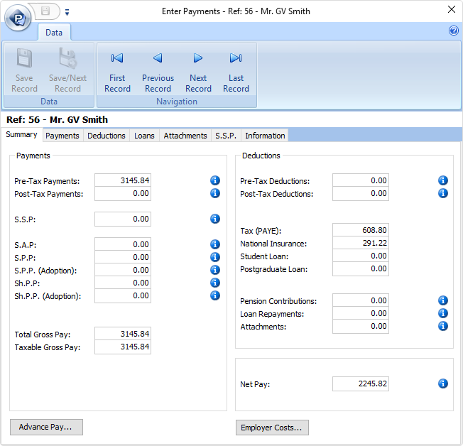 hr & payroll charity software screenshot
